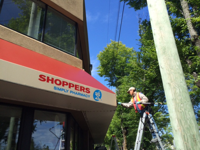 Shoppers Drug Mart awning cleaning
