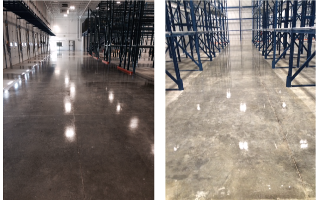 Acid washing and sealing of warehouse